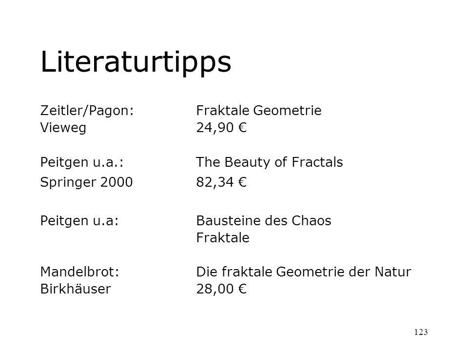 123 Literaturtipps Zeitler/Pagon: Fraktale Geometrie Vieweg24,90 Peitgen u.a.: The Beauty of Fractals Springer 200082,34 Peitgen u.a:Bausteine des Cha