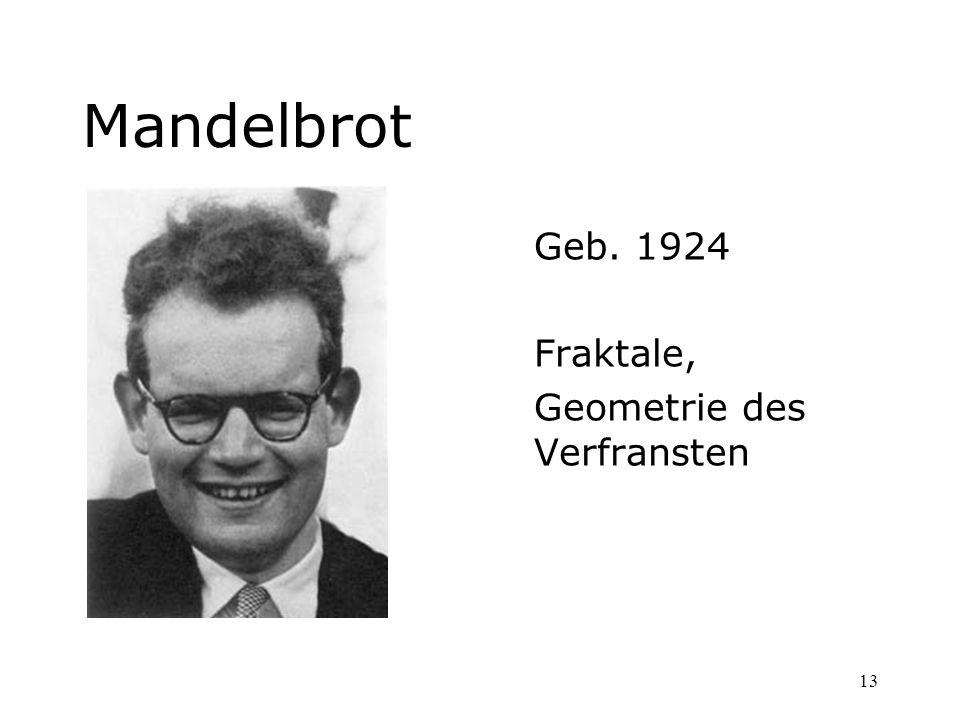 13 Mandelbrot Geb. 1924 Fraktale, Geometrie des Verfransten