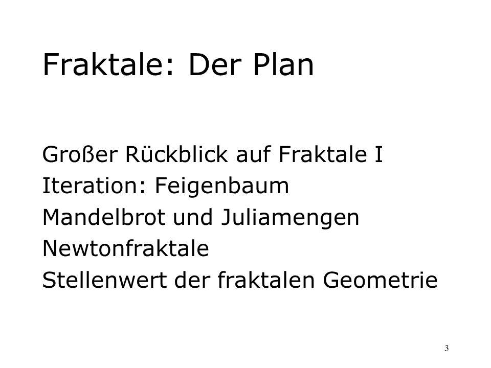 3 Fraktale: Der Plan Großer Rückblick auf Fraktale I Iteration: Feigenbaum Mandelbrot und Juliamengen Newtonfraktale Stellenwert der fraktalen Geometr