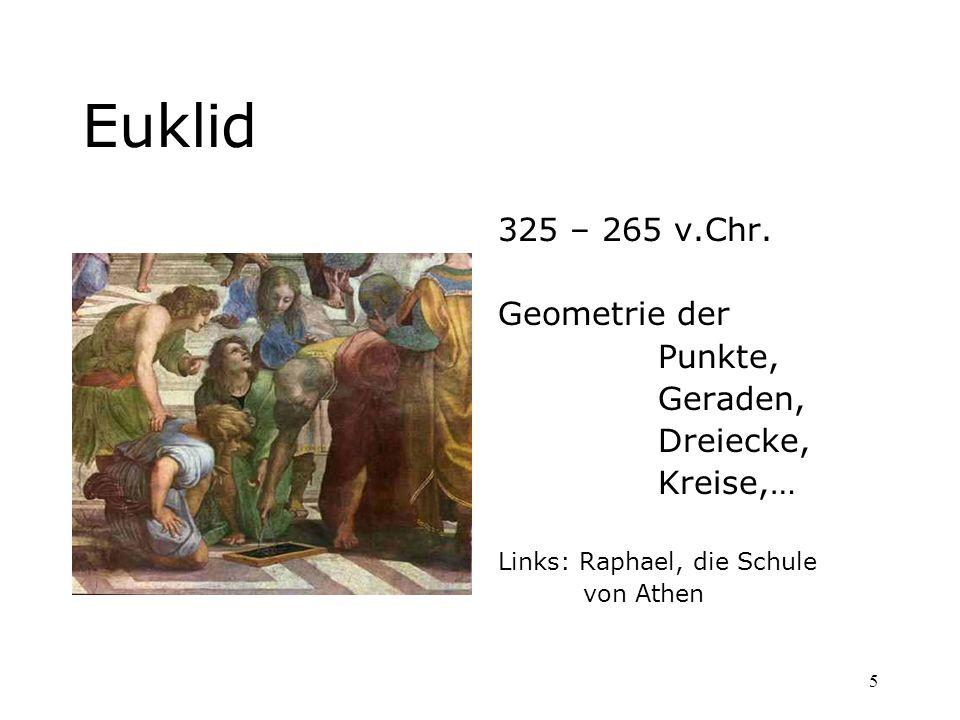 5 Euklid 325 – 265 v.Chr. Geometrie der Punkte, Geraden, Dreiecke, Kreise,… Links: Raphael, die Schule von Athen