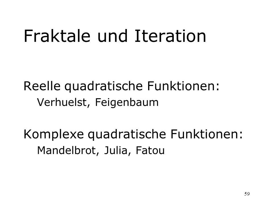 59 Fraktale und Iteration Reelle quadratische Funktionen: Verhuelst, Feigenbaum Komplexe quadratische Funktionen: Mandelbrot, Julia, Fatou