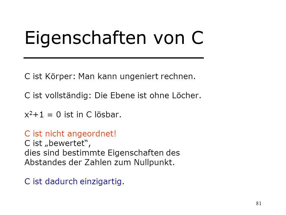81 Eigenschaften von C C ist Körper: Man kann ungeniert rechnen. C ist vollständig: Die Ebene ist ohne Löcher. x 2 +1 = 0 ist in C lösbar. C ist nicht