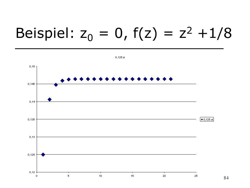 84 Beispiel: z 0 = 0, f(z) = z 2 +1/8