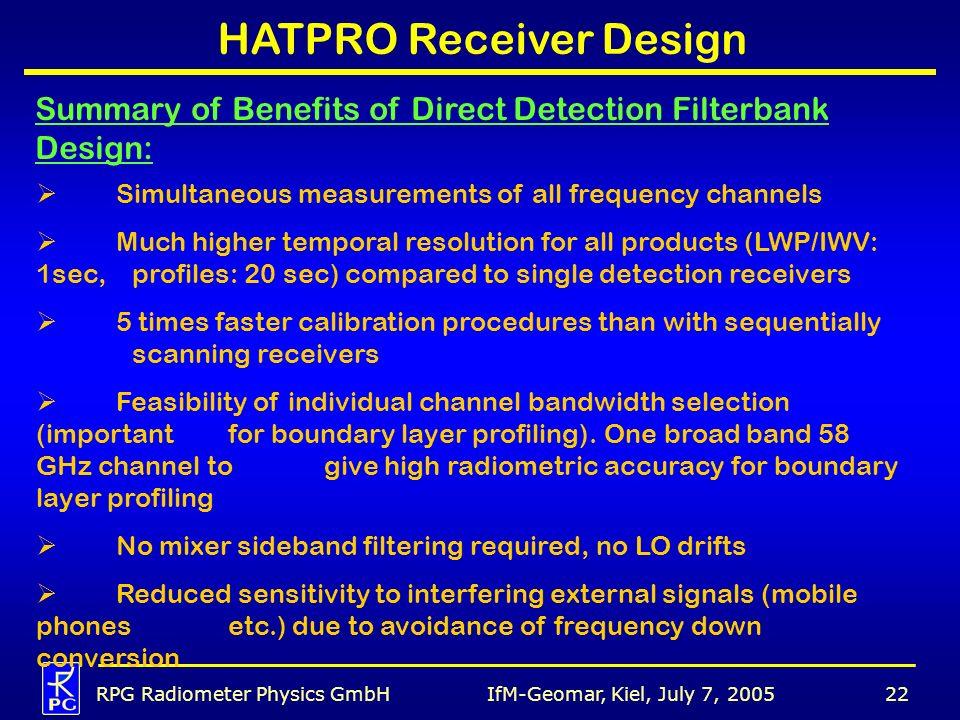 IfM-Geomar, Kiel, July 7, 2005RPG Radiometer Physics GmbH22 HATPRO Receiver Design Summary of Benefits of Direct Detection Filterbank Design: Simultan