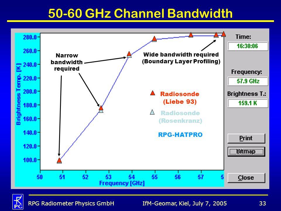 IfM-Geomar, Kiel, July 7, 2005RPG Radiometer Physics GmbH33 50-60 GHz Channel Bandwidth Radiosonde (Liebe 93) Radiosonde (Rosenkranz) RPG-HATPRO Wide bandwidth required (Boundary Layer Profiling) Narrow bandwidth required