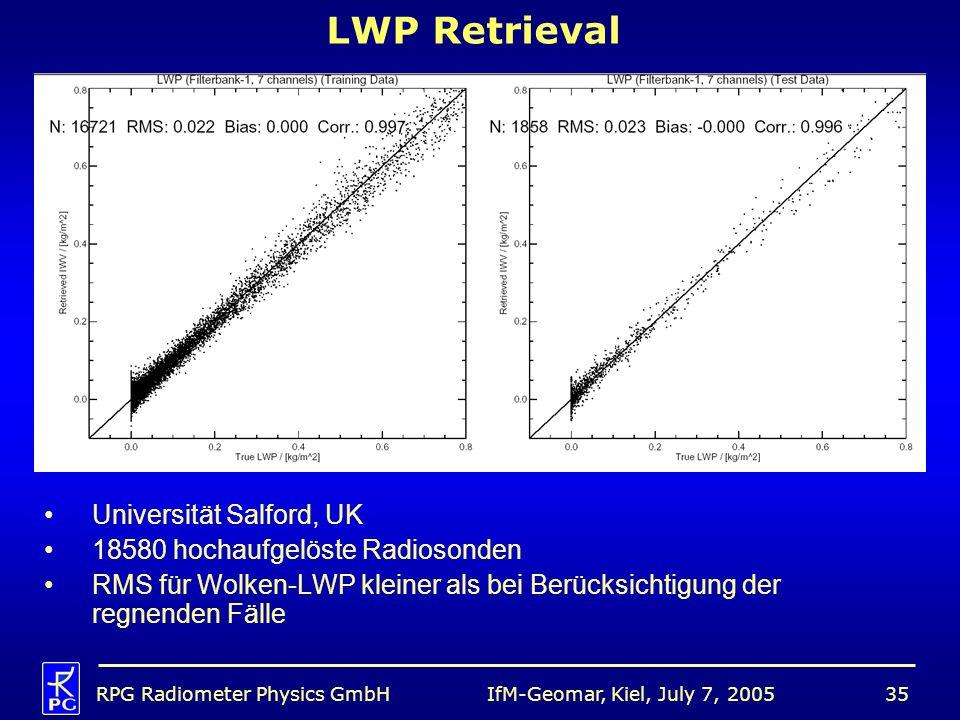 IfM-Geomar, Kiel, July 7, 2005RPG Radiometer Physics GmbH35 LWP Retrieval Universität Salford, UK 18580 hochaufgelöste Radiosonden RMS für Wolken-LWP