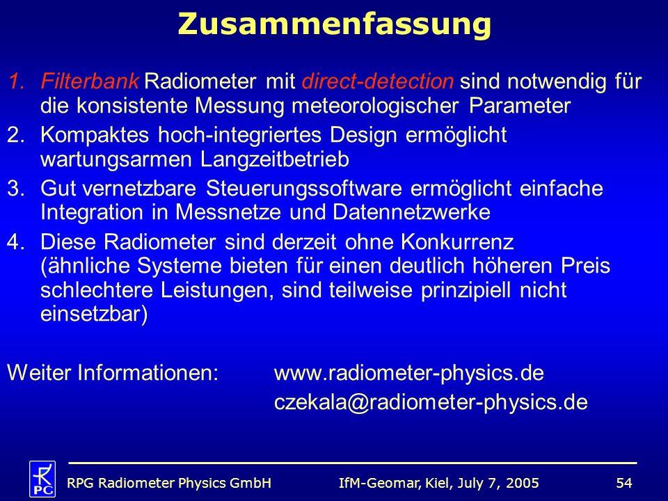 IfM-Geomar, Kiel, July 7, 2005RPG Radiometer Physics GmbH54 Zusammenfassung 1.Filterbank Radiometer mit direct-detection sind notwendig für die konsis