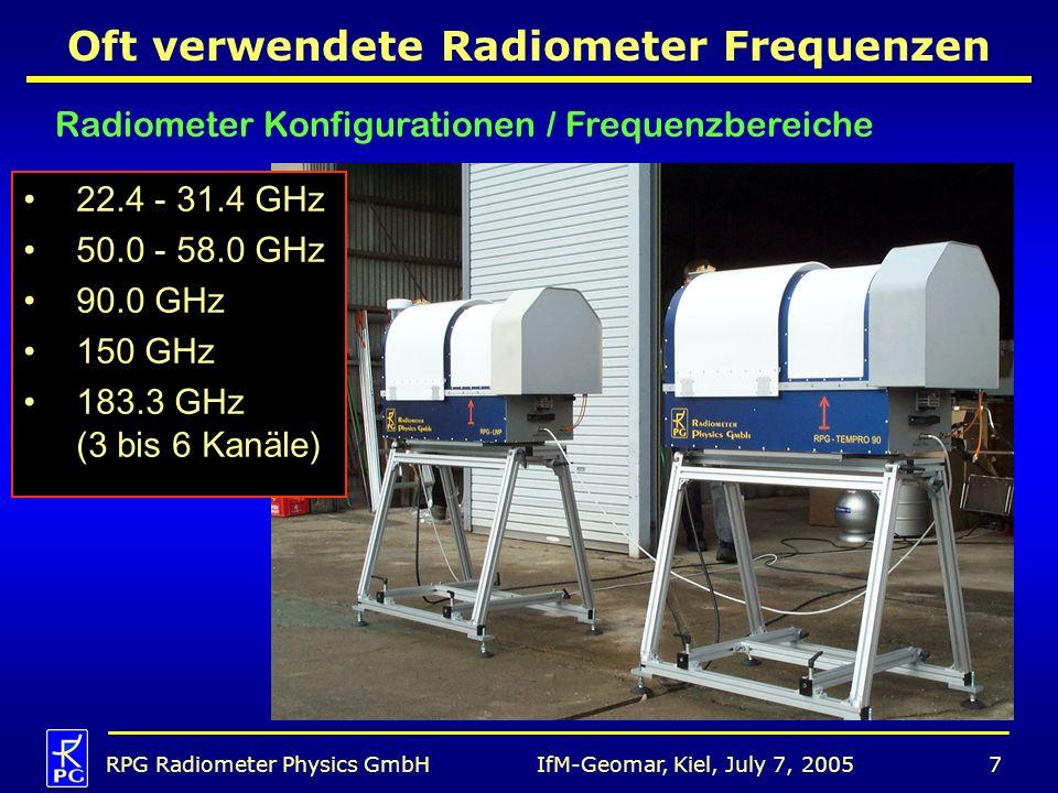 IfM-Geomar, Kiel, July 7, 2005RPG Radiometer Physics GmbH7 Radiometer Konfigurationen / Frequenzbereiche Oft verwendete Radiometer Frequenzen 22.4 - 3