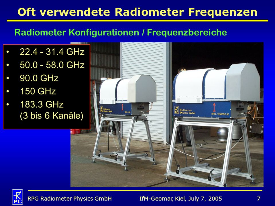 IfM-Geomar, Kiel, July 7, 2005RPG Radiometer Physics GmbH28