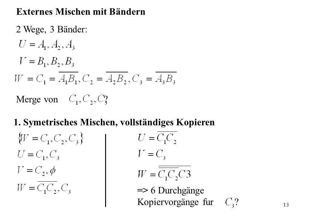 13 Externes Mischen mit Bändern 2 Wege, 3 Bänder: Merge von? 1. Symetrisches Mischen, vollständiges Kopieren => 6 Durchgänge Kopiervorgänge fur ?