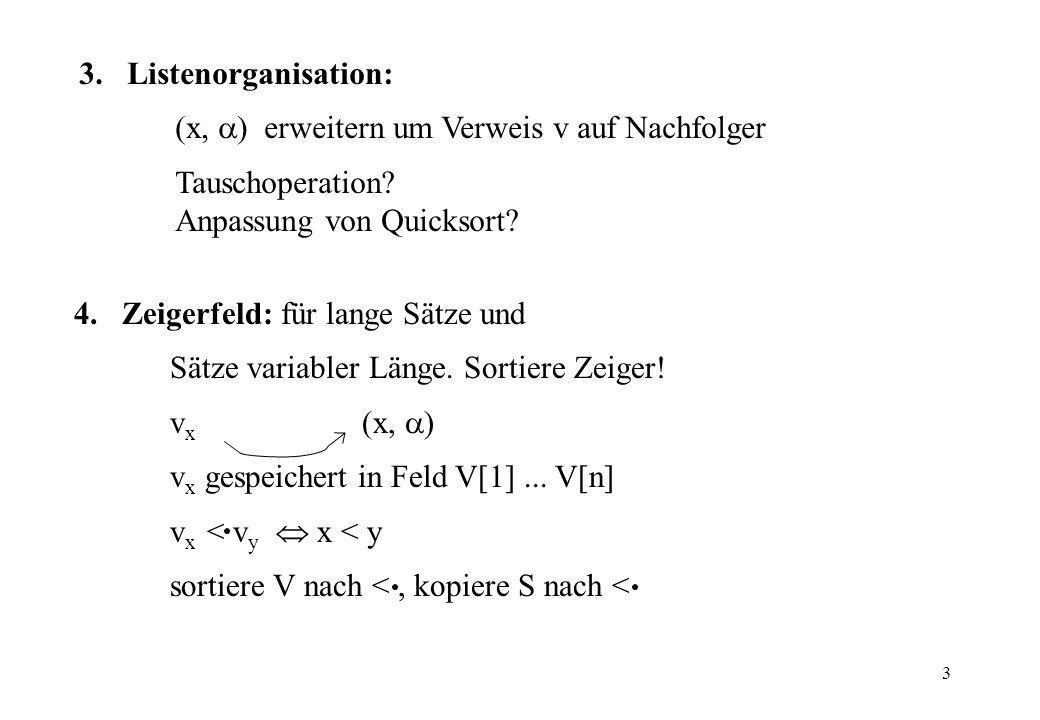 3 4.Zeigerfeld: für lange Sätze und Sätze variabler Länge. Sortiere Zeiger! v x (x, ) v x gespeichert in Feld V[1]... V[n] v x < v y x < y sortiere V
