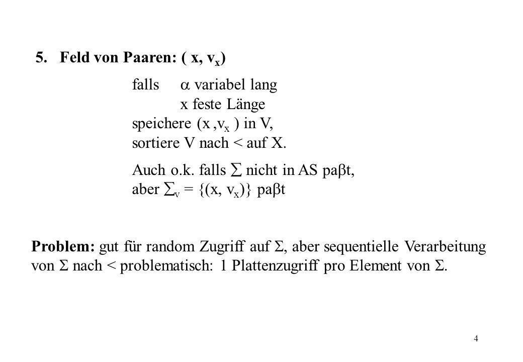 4 Problem: gut für random Zugriff auf, aber sequentielle Verarbeitung von nach < problematisch: 1 Plattenzugriff pro Element von. 5. Feld von Paaren: