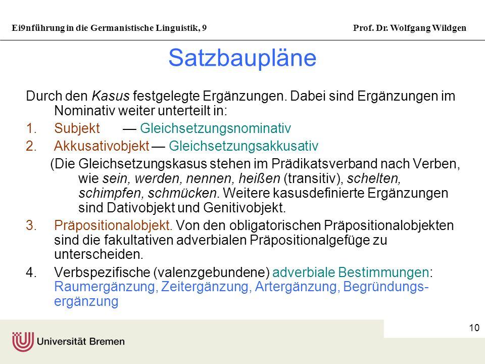Ei9nführung in die Germanistische Linguistik, 9Prof. Dr. Wolfgang Wildgen 9 Die Struktur des einfachen Satzes Beispiel für eine Konstituentenstruktur