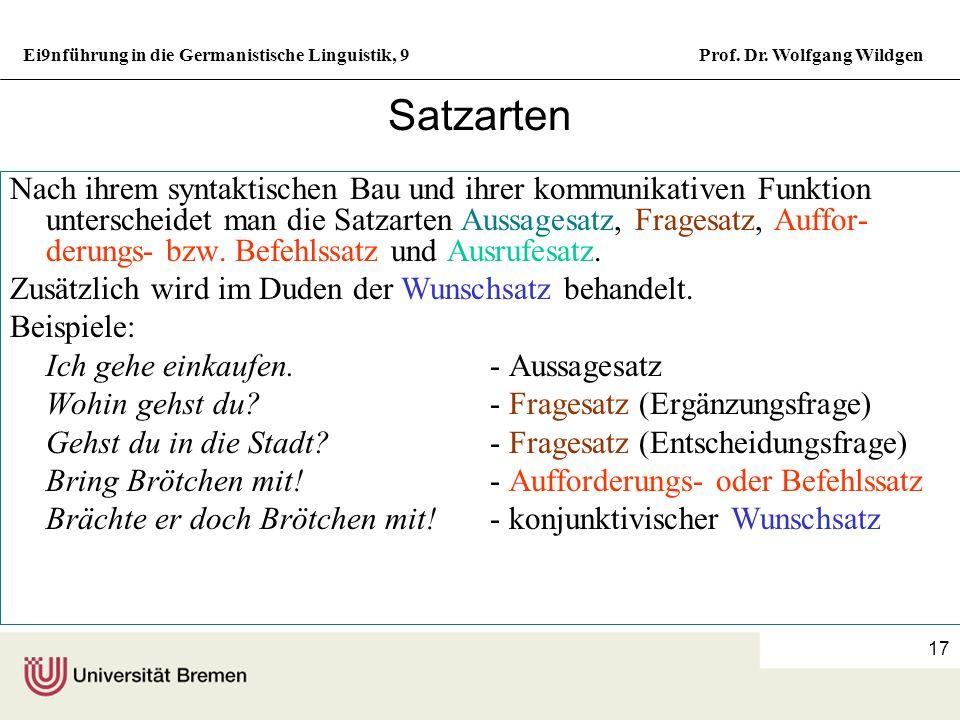 Ei9nführung in die Germanistische Linguistik, 9Prof. Dr. Wolfgang Wildgen 16 Nebenpläne Satz Prädikatsverband Ergänzungsverband Subjekt Prädikat Akk.o