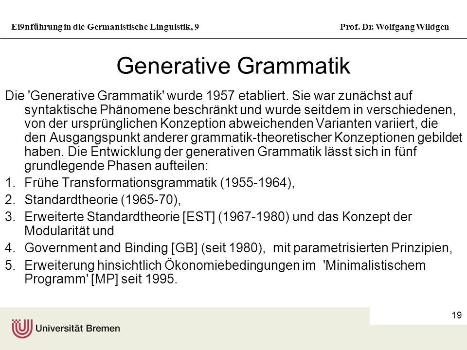 Ei9nführung in die Germanistische Linguistik, 9Prof. Dr. Wolfgang Wildgen 18 Transformationen 1a. Sie kauften sich einen neuen Wagen. 1b. Von ihnen wu