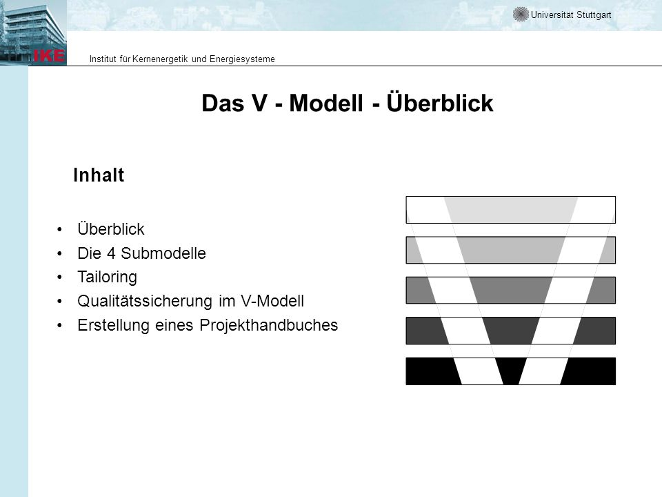 Universität Stuttgart Institut für Kernenergetik und Energiesysteme Übersicht Das V-Modell ist der Entwicklungsstandard für IT-Systeme des Bundes.