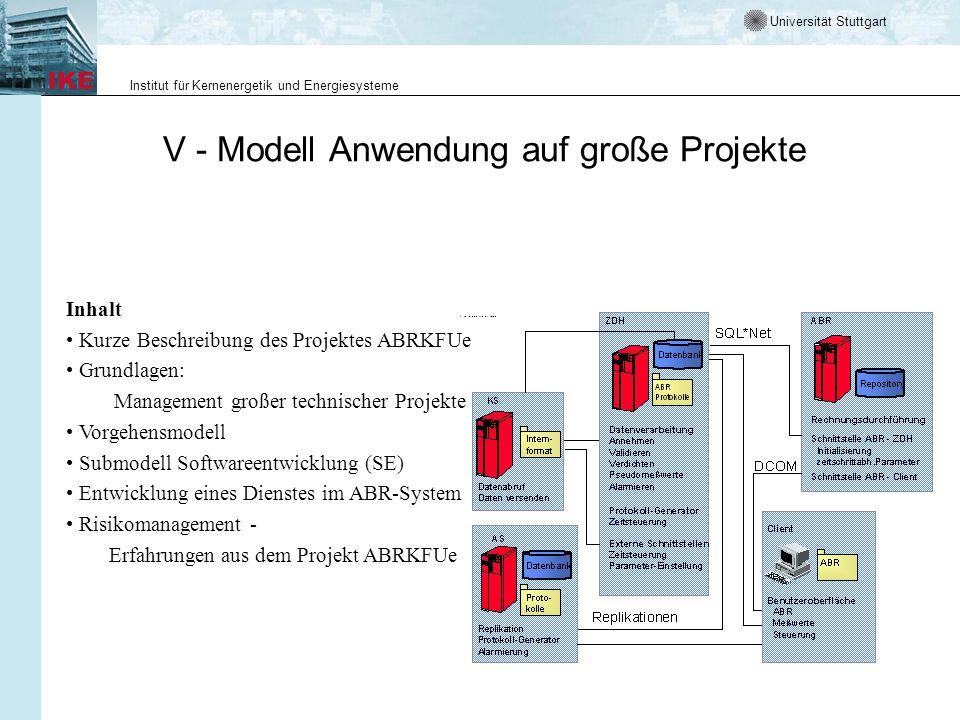 Universität Stuttgart Institut für Kernenergetik und Energiesysteme V - Modell Anwendung auf große Projekte Inhalt Kurze Beschreibung des Projektes AB