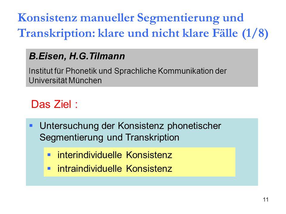 11 Das Ziel : Untersuchung der Konsistenz phonetischer Segmentierung und Transkription interindividuelle Konsistenz intraindividuelle Konsistenz Konsi