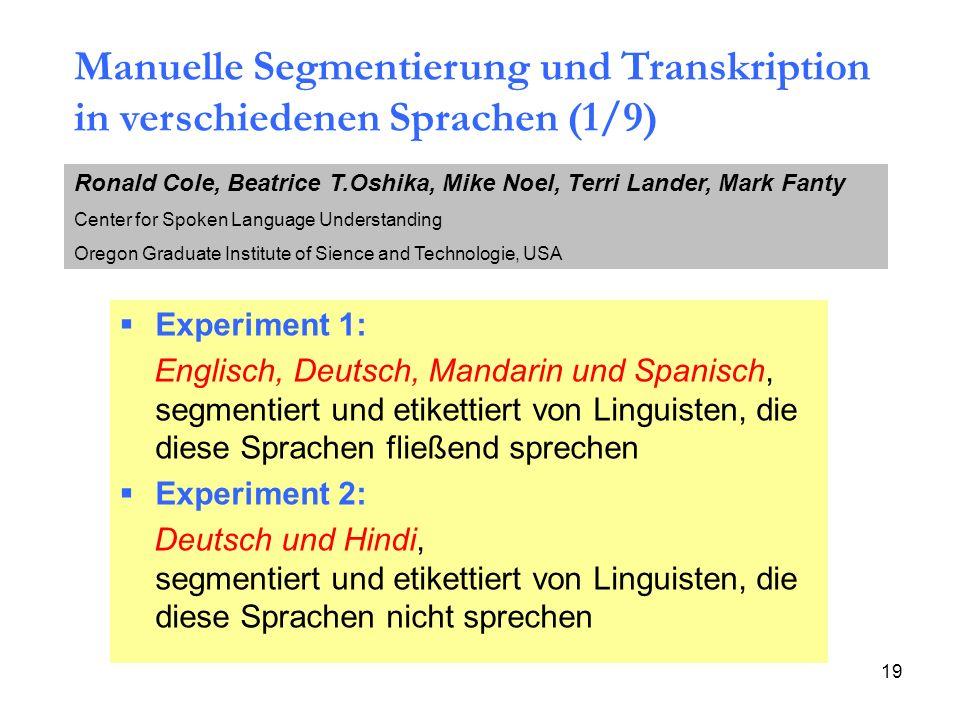 19 Experiment 1: Englisch, Deutsch, Mandarin und Spanisch, segmentiert und etikettiert von Linguisten, die diese Sprachen fließend sprechen Experiment