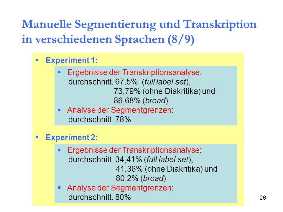 26 Manuelle Segmentierung und Transkription in verschiedenen Sprachen (8/9) Experiment 1: Experiment 2: Ergebnisse der Transkriptionsanalyse: durchsch
