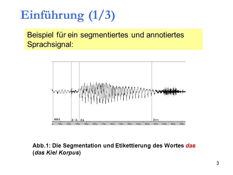 3 Einführung (1/3) Abb.1: Die Segmentation und Etikettierung des Wortes das (das Kiel Korpus) Beispiel für ein segmentiertes und annotiertes Sprachsig