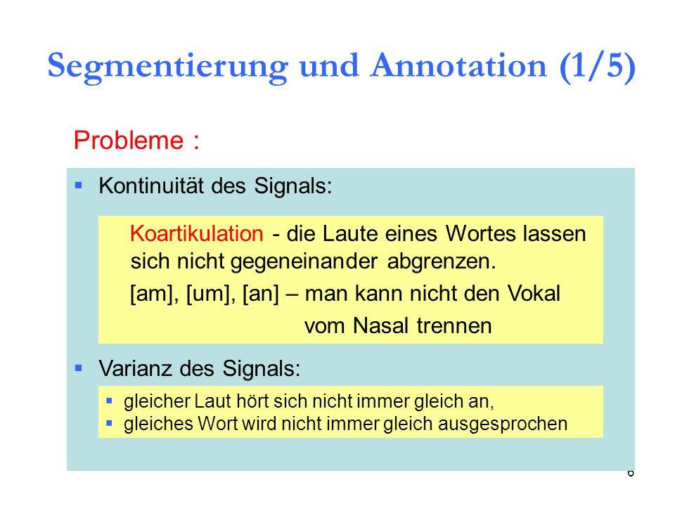 6 Probleme : Kontinuität des Signals: Varianz des Signals: Koartikulation - die Laute eines Wortes lassen sich nicht gegeneinander abgrenzen. [am], [u