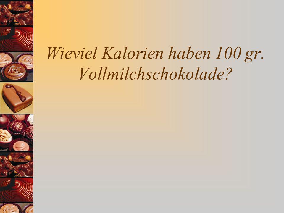 Wieviel Kalorien haben 100 gr. Vollmilchschokolade?