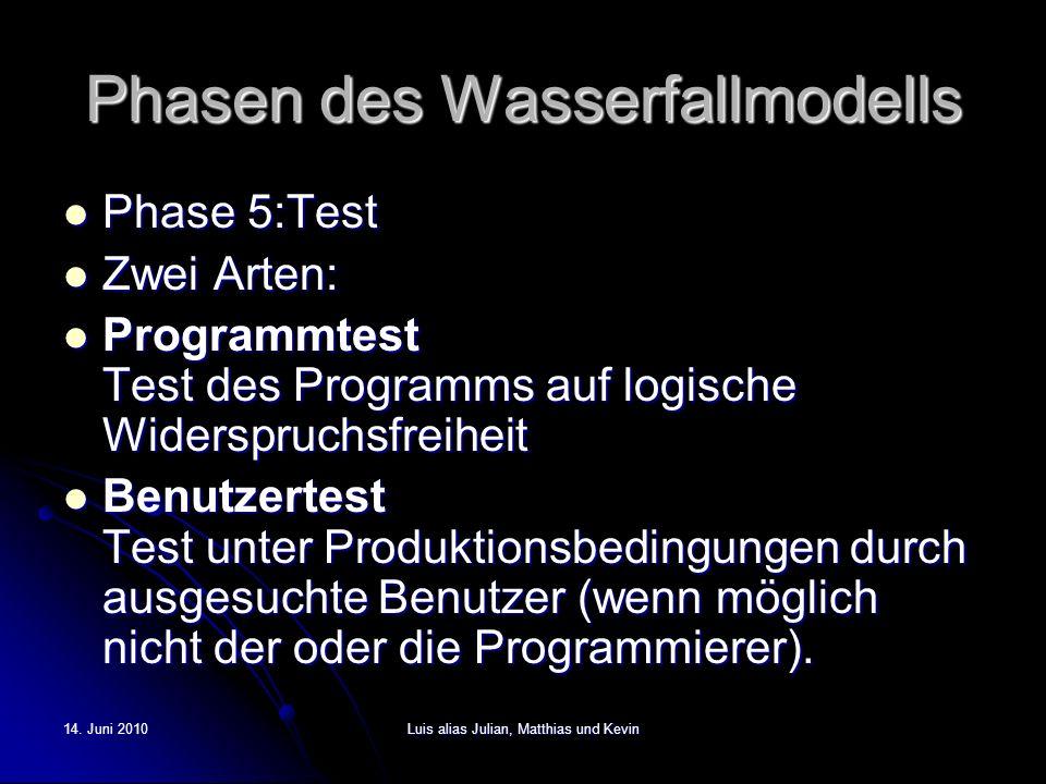 14. Juni 2010Luis alias Julian, Matthias und Kevin Phasen des Wasserfallmodells Phase 5:Test Phase 5:Test Zwei Arten: Zwei Arten: Programmtest Test de