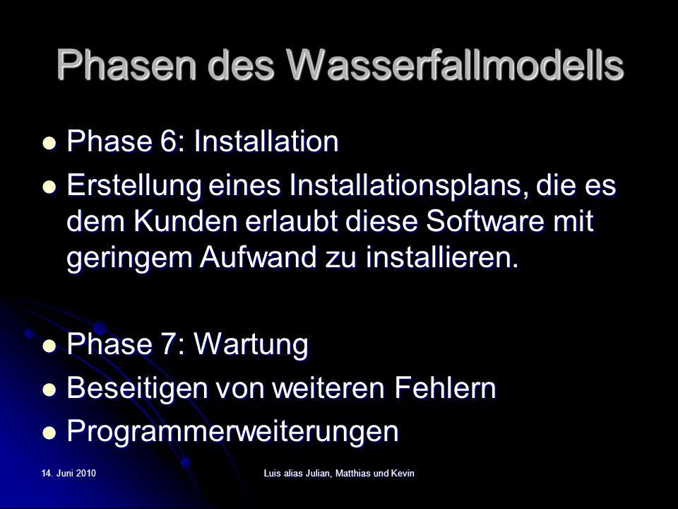 14. Juni 2010Luis alias Julian, Matthias und Kevin Phasen des Wasserfallmodells Phase 6: Installation Phase 6: Installation Erstellung eines Installat