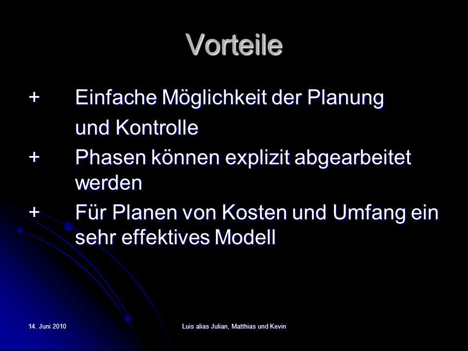 14. Juni 2010Luis alias Julian, Matthias und Kevin Vorteile +Einfache Möglichkeit der Planung und Kontrolle +Phasen können explizit abgearbeitet werde