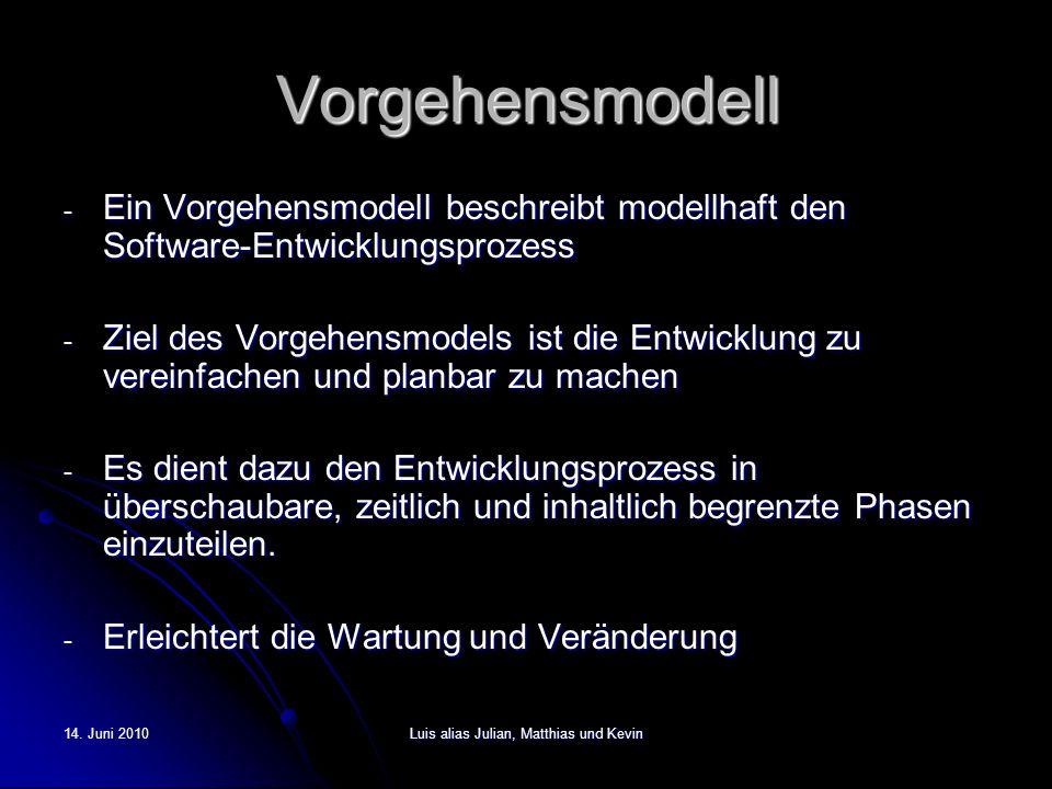 14. Juni 2010Luis alias Julian, Matthias und Kevin Vorgehensmodell - Ein Vorgehensmodell beschreibt modellhaft den Software-Entwicklungsprozess - Ziel