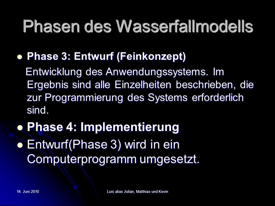 14. Juni 2010Luis alias Julian, Matthias und Kevin Phasen des Wasserfallmodells Phase 3: Entwurf (Feinkonzept) Phase 3: Entwurf (Feinkonzept) Entwickl