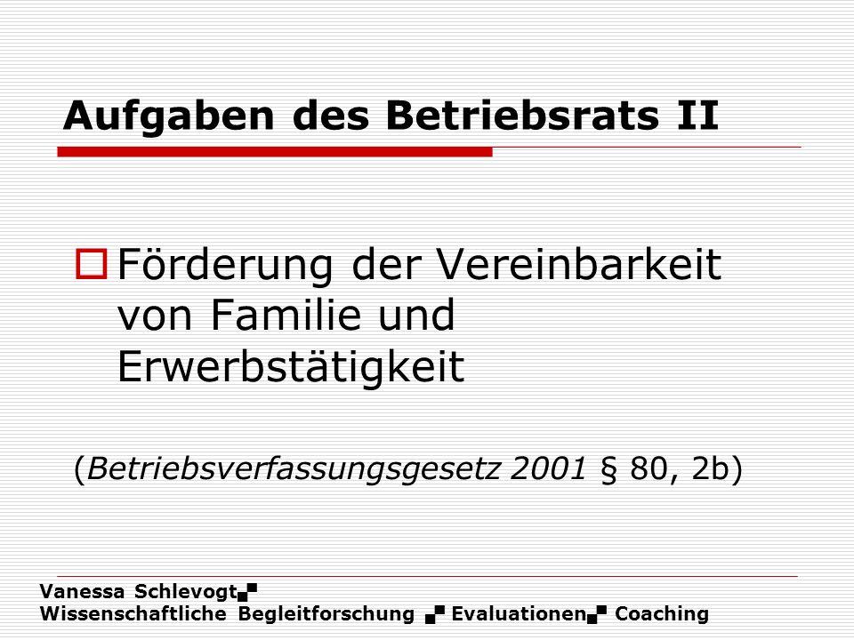Vanessa Schlevogt Wissenschaftliche Begleitforschung Evaluationen Coaching Aufgaben des Betriebsrats II Förderung der Vereinbarkeit von Familie und Er