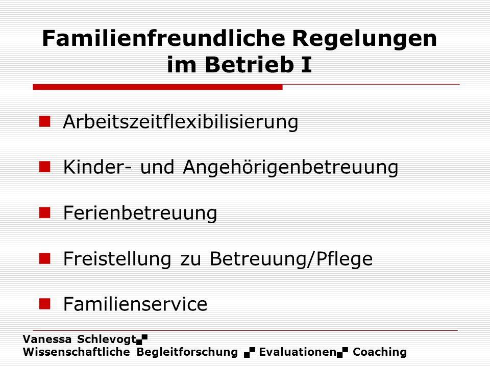 Vanessa Schlevogt Wissenschaftliche Begleitforschung Evaluationen Coaching Familienfreundliche Regelungen im Betrieb I Arbeitszeitflexibilisierung Kin