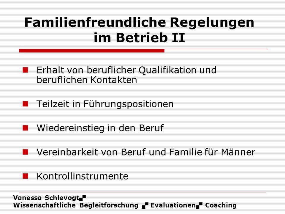Vanessa Schlevogt Wissenschaftliche Begleitforschung Evaluationen Coaching Familienfreundliche Regelungen im Betrieb II Erhalt von beruflicher Qualifi