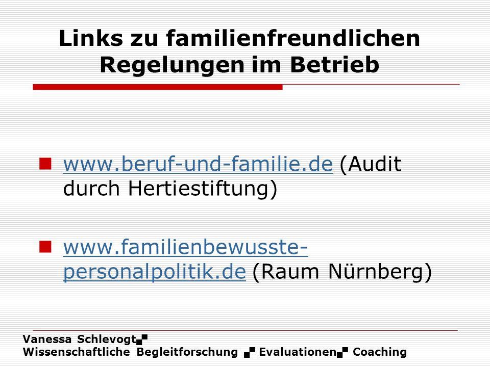 Vanessa Schlevogt Wissenschaftliche Begleitforschung Evaluationen Coaching Links zu familienfreundlichen Regelungen im Betrieb www.beruf-und-familie.d
