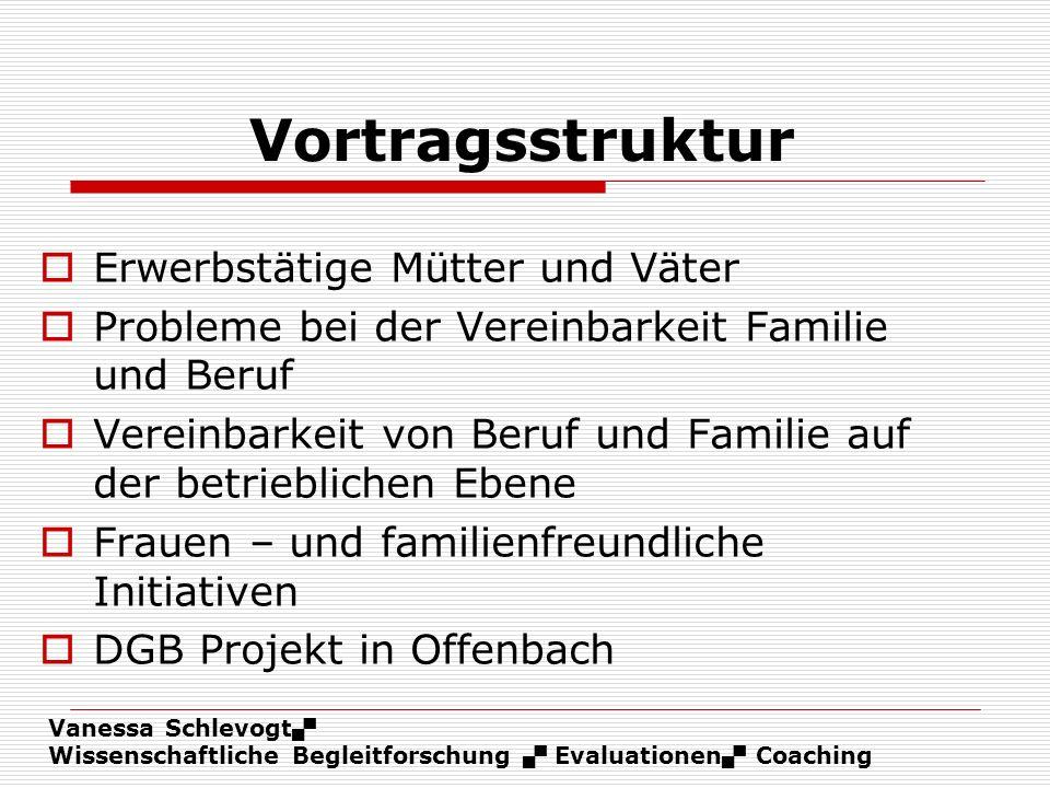 Vanessa Schlevogt Wissenschaftliche Begleitforschung Evaluationen Coaching Vortragsstruktur Erwerbstätige Mütter und Väter Probleme bei der Vereinbark