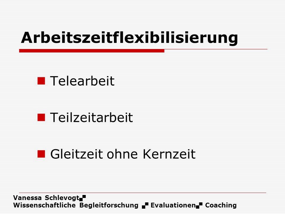 Vanessa Schlevogt Wissenschaftliche Begleitforschung Evaluationen Coaching Arbeitszeitflexibilisierung Telearbeit Teilzeitarbeit Gleitzeit ohne Kernze