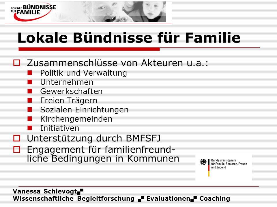 Vanessa Schlevogt Wissenschaftliche Begleitforschung Evaluationen Coaching Lokale Bündnisse für Familie Zusammenschlüsse von Akteuren u.a.: Politik un