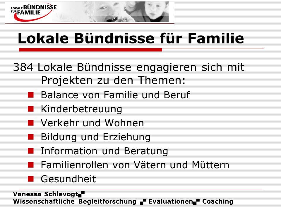 Vanessa Schlevogt Wissenschaftliche Begleitforschung Evaluationen Coaching Lokale Bündnisse für Familie 384 Lokale Bündnisse engagieren sich mit Proje
