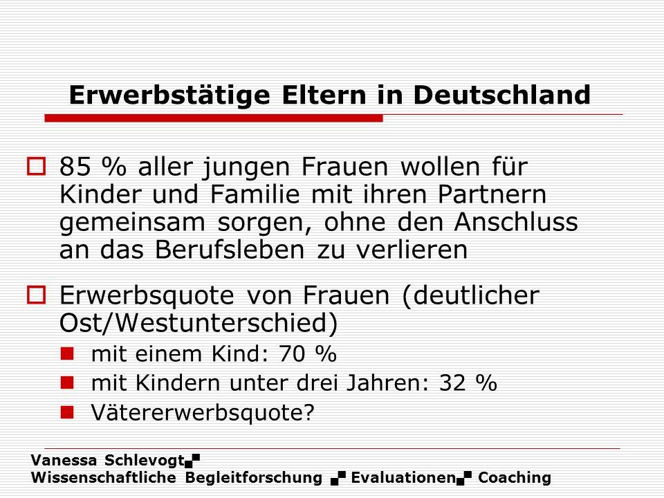 Vanessa Schlevogt Wissenschaftliche Begleitforschung Evaluationen Coaching Erwerbstätige Eltern in Deutschland 85 % aller jungen Frauen wollen für Kin