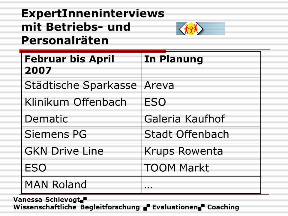 Vanessa Schlevogt Wissenschaftliche Begleitforschung Evaluationen Coaching ExpertInneninterviews mit Betriebs- und Personalräten Februar bis April 200