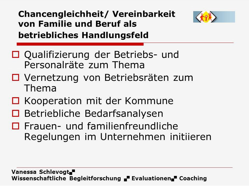 Vanessa Schlevogt Wissenschaftliche Begleitforschung Evaluationen Coaching Chancengleichheit/ Vereinbarkeit von Familie und Beruf als betriebliches Ha