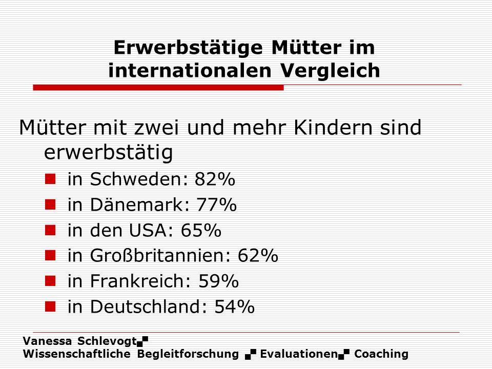 Vanessa Schlevogt Wissenschaftliche Begleitforschung Evaluationen Coaching Erwerbstätige Mütter im internationalen Vergleich Mütter mit zwei und mehr