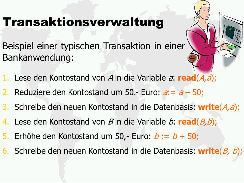 Transaktionsverwaltung Beispiel einer typischen Transaktion in einer Bankanwendung: 1.Lese den Kontostand von A in die Variable a: read(A,a); 2.Reduziere den Kontostand um 50.- Euro: a:= a – 50; 3.Schreibe den neuen Kontostand in die Datenbasis: write(A,a); 4.Lese den Kontostand von B in die Variable b: read(B,b); 5.Erhöhe den Kontostand um 50,- Euro: b := b + 50; 6.Schreibe den neuen Kontostand in die Datenbasis: write(B, b);