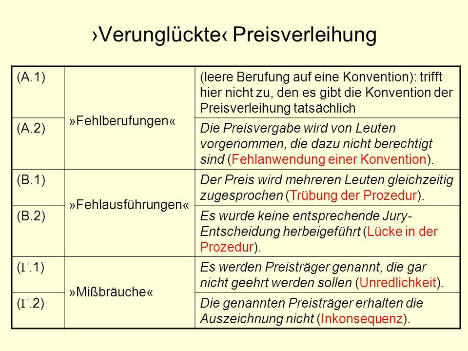 Verunglückte Preisverleihung (A.1) »Fehlberufungen« (leere Berufung auf eine Konvention): trifft hier nicht zu, den es gibt die Konvention der Preisve