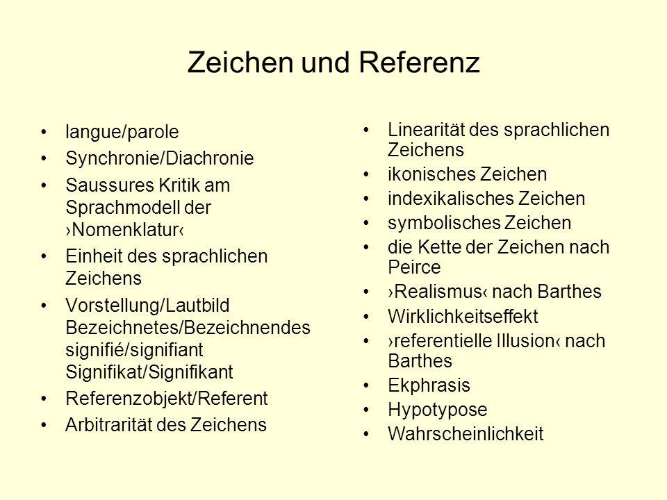 Zeichen und Referenz langue/parole Synchronie/Diachronie Saussures Kritik am Sprachmodell der Nomenklatur Einheit des sprachlichen Zeichens Vorstellun