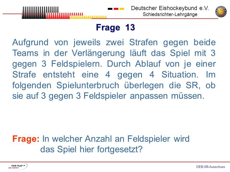 Frage 12 Deutscher Eishockeybund e.V. Schiedsrichter-Lehrgänge DEB-SR-Ausschuss Team ATeam B 61:00 A22´ 61:30B152´ 61:45 A62´ 62:00 B172´ In dieser Si