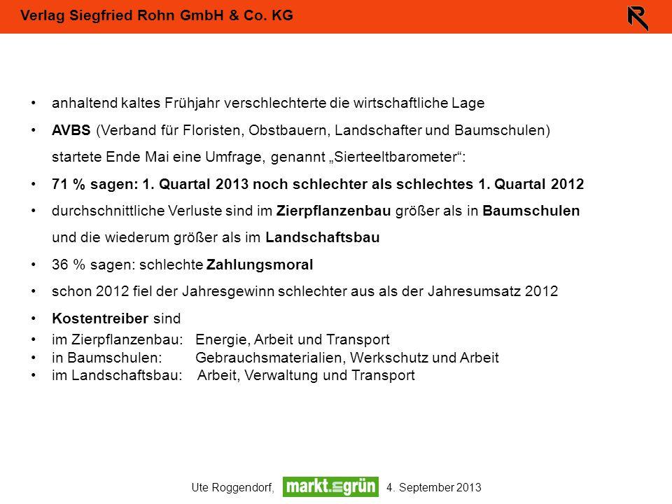 Verlag Siegfried Rohn GmbH & Co. KG Ute Roggendorf, 4. September 2013 anhaltend kaltes Frühjahr verschlechterte die wirtschaftliche Lage AVBS (Verband