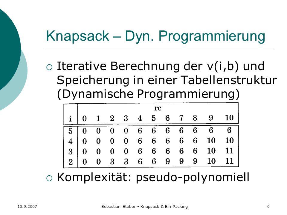 10.9.2007Sebastian Stober - Knapsack & Bin Packing7 Knapsack – FPTAS Idee: Verwende nur eine feste Anzahl von Bits (abhängig von ) und ignoriere die unwichtigsten, so dass der gerundete Nutzen polynomiell in n und 1/ ist.